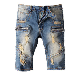 Wholesale short jeans hot pant - HOT Balmain Fashion Mens jeans Shorts Motorcycle biker jeans Rock Revival Short Pants Skinny Slim Ripped hole Men's Denim Shorts Designer