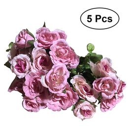 Wholesale Branch Table - 5 Branches Sunflower Rose Artificial Flower Living Room Simulation Table Decoration Flower Garden Pastoral Country Style