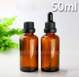 bottiglie di vetro nera di dropper Sconti Bottiglie di contagocce di mercato all'ingrosso 50ml Bottiglia di contagocce di vetro ambrato cosmetica di vetro con tappi neri di oro per l'olio essenziale