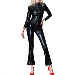 50224fe48 tight look Coupons - Sexy Womens Faux Leather Zipper Bodysuit Catsuit  Fetish Female Long Sleeve Slim