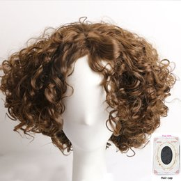 Wholesale Synthetic Hair Wigs For Men - Short Curly Synthetic Wigs for Women Men Brown Heat Resistant Hair Wigs Daily Party Wig for African American Ladies with Wig Cap