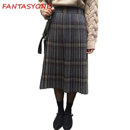 Wholesale Wool Skirts Vintage - Women's Plaid Skirts Tartan Woolen Plaid Skirts Kilt Winter Wool Umbrella A Line Vintage Skirt Pleated Wool Tartan