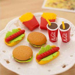 1 Pc Bonito Kawaii Bolo Hamburger Food Drink Cola Borracha Eraser Set Papelaria Escola Escritório Apagar Suprimentos Fruta Presentes Dos Miúdos de Fornecedores de pizza crianças