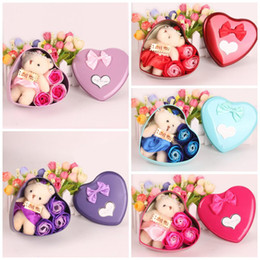 Wholesale Mini Artificial Rose - Artificial Simulation Bouquet With Lovely Mini Bear Valentines Day Gift Soap Flower Scented Essential Oil Rose Soaps Petal Fashion 4 5mw B