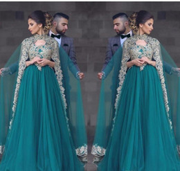 Wholesale Muslim Holidays - 2018 Arabic Kaftan Muslim Style Caped Lace Prom Dress Hunter Green Formal Holidays Wear Graduation Evening Party Gown Custom Made Plus Size