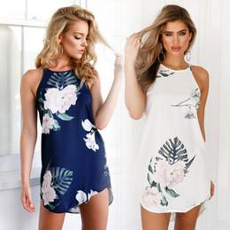 Wholesale Bodycon Halter - Female Hi-Lo Bodycon Dress Floral Printed Women Halter Neck Sleevesless Summer Boho Beach Clothes Split Dresses