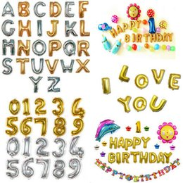 Wholesale digital foil - 32inch Letter Number Foil Balloons Birthday Wedding Party Decor Gold Silver Inflatable digital Ballons Party Supplies FFA585 200PCS