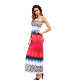 Vestidos longos no tornozelo on-line-Senhora sexy imprime Strapless off-a-ombro vestido fino mulheres contrato cor halter tornozelo-comprimento apertado ajuste longo vestido