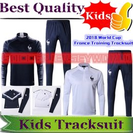 Wholesale club sportswear - 2018 World Club France KIDS Soccer Tracksuits Sportswear Training Suits Football Mbappé Griezmann Kanté Paul Pogba Survetement BOYS Tracksui