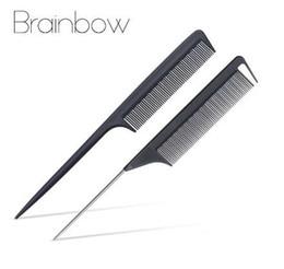 Brainbow 2pcs Fine-tooth Hair Comb Pin in metallo Anti-statica spazzola per capelli in carbonio professionale Pro Salon strumenti per lo styling parrucchieri da