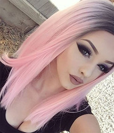 Wholesale Black Heat Resistant Bob Wig - Fashion BOB Ombre Pink Wig Kylie Jenner None Lace Synthetic wigs Glueless Straight black root pink Heat Resistant Hair Women Wigs