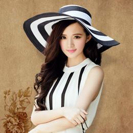 7f473905c15 Summer Sun Hat For Women Straw Wide Brim Stripe Printed Caps Lady Girls  Beach Vintage Floppy Cap UV Protection