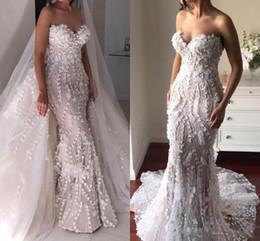 Wholesale Detachable Mermaid Wedding Dress Lace - Gorgeous Overskirts Mermaid Wedding Dresses With Detachable Train Sweetheart 3D Appliques Personalized Wedding Dress 2018 Bridal Gowns
