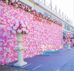 blumenwand hintergrund Rabatt 20pcs / lot60X40CM romantische künstliche Rosen-Hydrangea-Blumen-Wand für Hochzeitsfest-Stadium und Hintergrund-Dekoration viele Farben