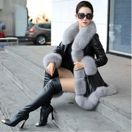 Wholesale Leather Fur Trim - 2017 Warm Winter Jacket 6XL Plus Size PU Leather Faux Fur Coat Long Synthetic Fox Fur Collar Abrigo Piel Mujer