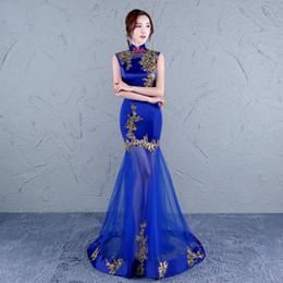 2019 designers de vestidos de casamento china As mulheres chinesas cheongsam vestido tradicional chinês vestido de noiva longo oriental azul laço de roupas de grife china vermelho designers de vestidos de casamento china barato