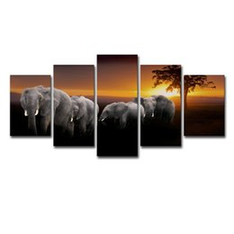 Arte do painel do elefante on-line-Modular Pintura Home Decor Quadro Para Quarto Poster HD impressos em lona 5 Painel de elefantes animal sol Wall Art Pictures