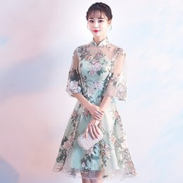 vestido tradicional chinês verde Desconto Laço verde Chinês Tradicional Vestido de Noite Vestidos de Festa Qipao Noiva Cheongsam 2018 Moda Curto Oriental Vestidos De Casamento