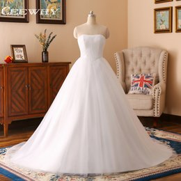 Wholesale Simple Wedding Dresses Korean Style - CEEWHY Korean Style Lace Up A-Line High Quality Wedding Dresses 2018 Vestido de Noiva Plus Size Bridal Dress Real Photo