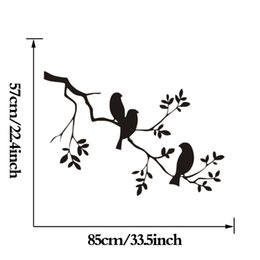 Wholesale Stickers Tattoos For Kids - Birds On The Tree Branch Wall Stickers 57X85cm Vinyl Wall Art Decals Quotes Custom Color Wall Tattoo Stickers muraux