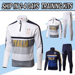 Wholesale Men Italian Pants - 2017 2018 Italy Training Suit Survetement Football Italy Tracksuit Kits Soccer Chandal italian Tracksuit shinny tight pants sweater shirts