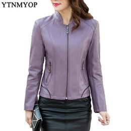 cd935356091 purple leather jackets Canada - Women Leather Clothing 2018 Slim Purple Female  Leather Coat Plus Size