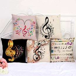 Wholesale music pillow cases - 45cm*45cm Pillow Cases Sea Color Music Notes Pillow Cover Cotton Linen Square Pillowcase Living Room Sofa Decorative Cushion Cover Case