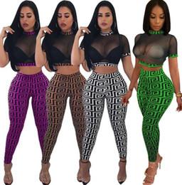 b80b7fb72a53f Women sheer clubwear 2 piece set leggings crop top short sleeve tshirt mesh  short pullover tights capris sexy night club print plaid clothes discount  sexy ...