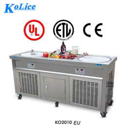 Wholesale Freezer Machine - Free shipment by air to door EU double ice pans with 10 small freezer snack food equipment fried ice cream rolled machine with CE EMC LVD