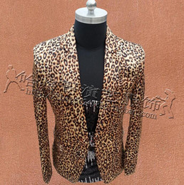 2021 costumes de style punk, hommes Men Leopard Suits Designs Masculino Homme Stage Costumes Singers Men Slim Blazer Dance Clothes Jacket Star Style Dress Punk