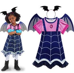 Wholesale lace ruffle girls dress headband - Vampire Cartoon Dress Wing Headband Girls Short Sleeves Party Costumes For Kids Children Vampire Cosplay NNA419