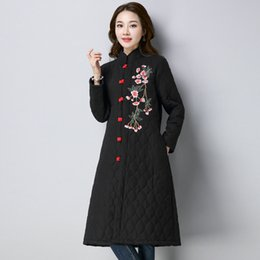 Wholesale Chinese Style Jackets Women - ilstile 2017 Vintage Womens Stand Collar Floral Embroidery Coats Chinese Style Jacket National Cotton Long Parkas Winter Outwear