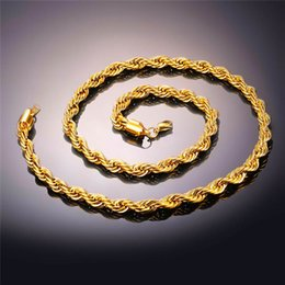 Wholesale Man 24k Gold Chains - Hip Hop Rope Necklace For Men Heavy 24K Yellow Gold Plated Fine Jewelry Long Choker 2 2.5 8MM Wholesale Cuban Link Chain Free Shipping