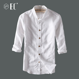 65676630ec91 EC2018 Summer New Casual Shirts Men Breathable Cotton Linen Fashion Three  Quarter Slim Fit Brand Clothing T044