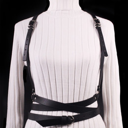 Wholesale Leather Harnesses For Women - New Sexy Punk Harajuku Garters Faux Leather Body Bondage Sculpting Belts for Women Female Harness Waist Belts Straps Suspenders