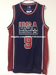 Wholesale Olympic Basketball Jerseys - cheap 1992 USA Olympic Dream Team Dark Blue Jersey Stitch customizing any name number