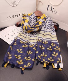 Wholesale cotton circle scarf - Cotton and linen scarf female spring and summer new all-match yellow blue hit color floral circle long paragraph seaside holiday sun shawl