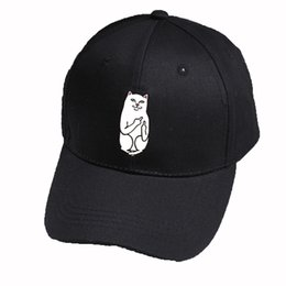 2018 New Hot Sale Hats Cartoon Middle Finger Cats Embroidery Baseball Hat  Unisex Hip Hop Casual Adjustable Fashion Simple Caps 0a5adc631374