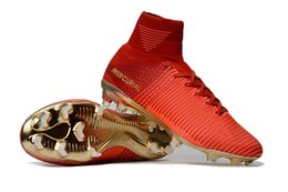 Wholesale Leather Indoor Soccer Shoes - MERCURIAL SUPERFLY V CR7 MERCURIAL CHAMPIONS FG SOCCER SHOES, NEYMAR JR GLITCH SOCCER CLEATS RONALDO HIGH ANKLE FOOTBALL SHOES WITH BOX