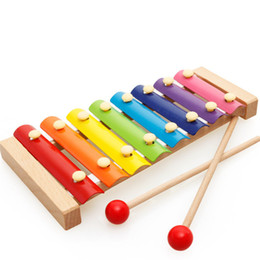 Wholesale Free Educational Music - Early childhood education puzzle educational toys wooden octave knocker wooden knock piano music DHL free shipping