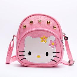 f7710ed6a84a Baby girls hello Kitty pink 2018 handBags Kids cat bag crocodile Rivet kids  girl Handbags PU Crossbody Messenger Bags