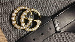 Wholesale mens leather belts sale - Hot sale new Luxury big pearl buckle black color mens womens belt as gift