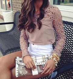 Wholesale sheer lace crochet top - Fashion Women Sheer Sleeve Embroidery Lace Crochet Tee Chiffon Shirt Tops Blouse
