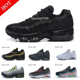 Wholesale Tennis Shoes Walking - Drop Shipping Hight Quality New Mens Sports 95 Running Shoes Black White Men best Athletic walking Tennis Shoes Grey Man Training Sneakers