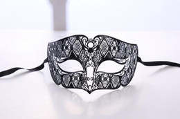 performance metals Coupons - Men Metal Party Mask Mens Smoking Black Venetian Filigree Masquerade Mask Masked Ball Halloween Christmas stage performance props