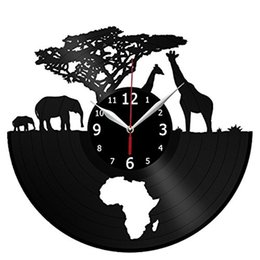 Wholesale african art wall decor - African grassland Vinyl wall clock modern home decor crafts creative handmade gift office wall art Simple decor living room quartz clock