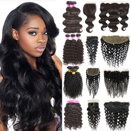Wholesale Natural Wave Cambodian - Cambodian Body Wave Human Hair Weaves Bundle Deals Body Weave Wet and Wavy Hair 3 Bundles with Lace Closure Frontal Bundles Natural Black