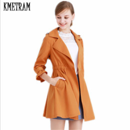 767f505dab675 KMETRAM Nine Sleeve Thin Trench Coat Slim Simply Solid Color Windbreaker  2018 Fashion Middle Long Casaco Feminino HH990