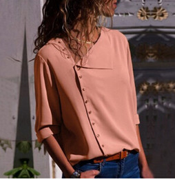 Wholesale collar blouse neck designs - Stylish Fashion Irregular Shirts Women Spring Autumn New Hot Buttons Design Turn Down Collar Blouses Tops Tee
