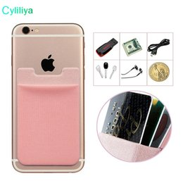 Wholesale Abs Plastic Mobile Phone Case - Lycra Mobile Phone Wallet Credit ID Card Holder Pocket Adhesive Sticker for iPhone 5 6 6s 7 Plus Samsung